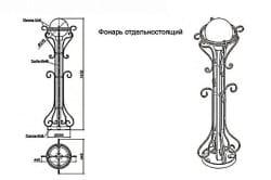 Кованный фонарь отдельно стоящий