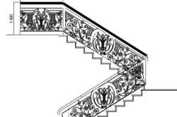 Схема эскиза перил для кованой лестницы