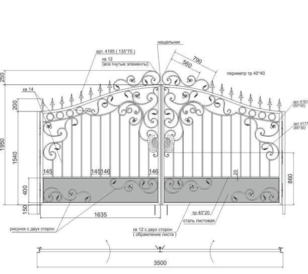 Схема кованых ворот