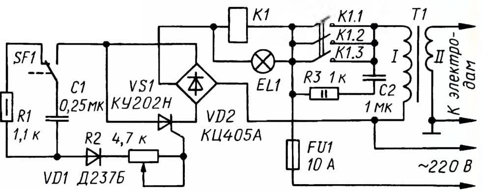 Схема электронного блока сварочного аппарата