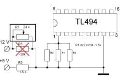 Cхема обратной связи по напряжению TL494 в компьютерном блоке питания