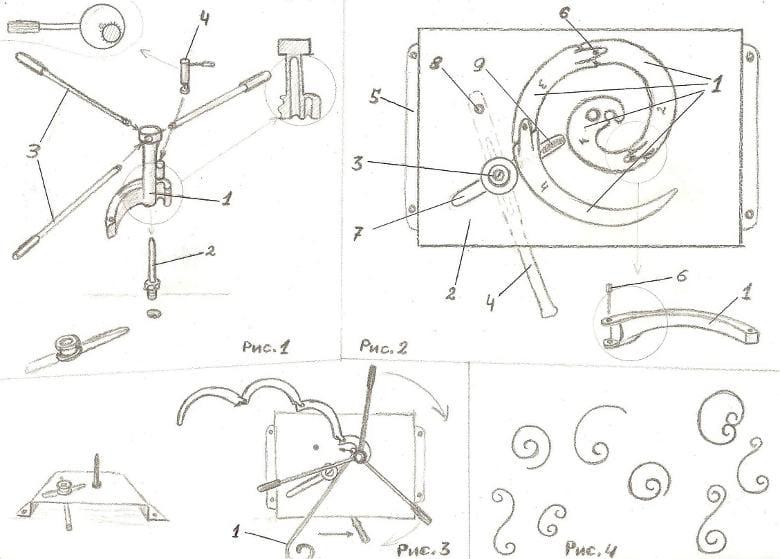 Эскиз станка для улитки: рисунок 1: 1- ведущий лемех улитки,2 -основная ось, 3- рычаги для приложения силы, 4- фиксатор для заготовки; рисунок 2: 1-лемех улитки, 2- площадка станка, 3- прижимной валик, 4- рычаг для управления прижимным валиком, 5 -крепление площадки, 6 -палец для фиксации лемехов улитки, 7- паз, по которому ходит прижимной валик, 8- ось рычага управления прижимного валика, 9- пружина для притяжения валика; рисунок 3- принцип работы приспособления: 1- поворачивается улитка; рисунок 4 - примеры изделий, изготовленных при помощи улитки.