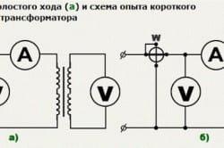 Схема холостого хода и короткого замыкания трансформатора