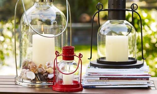 Пример уличных фонарей из банок и свечей