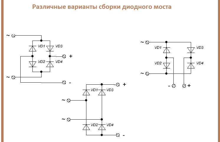 Различные варианты изображения диодного моста