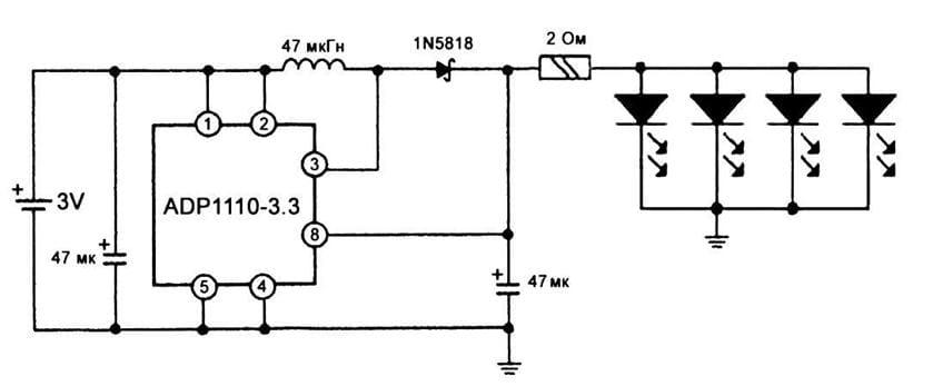 Схема светодиодного фонаря