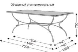 Эскиз кованого стола с размерами