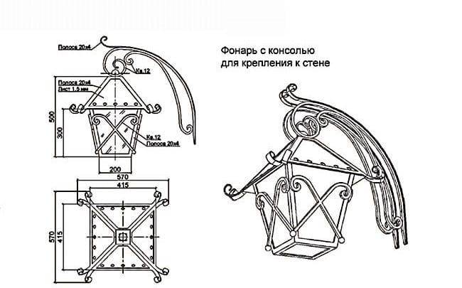Схема кованного фонаря с