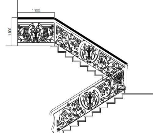 Схема эскиза перил для кованой