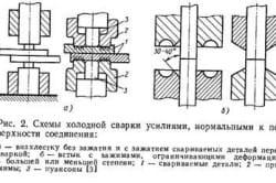 Схема холодной сварки внахлестку и встык с зажимами