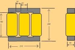 Примерные размеры магнитопровода
