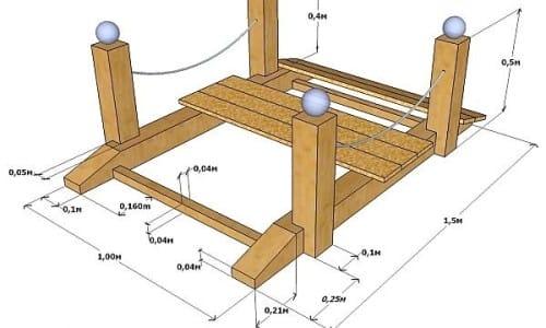Рисунок 1. Чертеж садового деревянного мостика